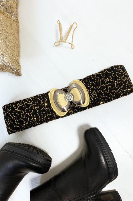 Jolie ceinture pailleté noir et doré avec forme papillon vendu par paquet de 12