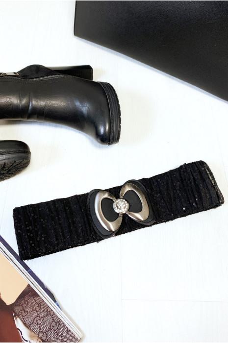 Jolie ceinture pailleté noir avec forme papillon vendu par paquet de 12