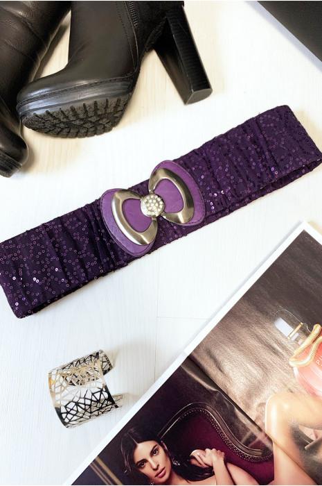 Jolie ceinture pailleté violet avec forme papillon vendu par paquet de 12