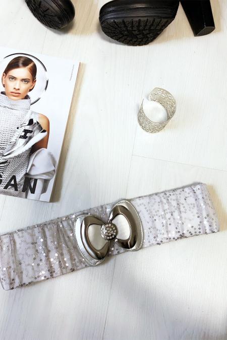 Jolie ceinture pailleté gris avec forme papillon vendu par paquet de 12