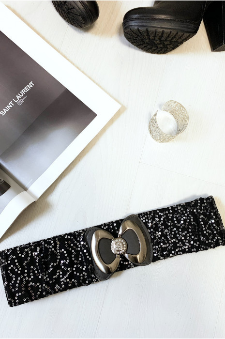 Jolie ceinture pailleté noir et argenté avec forme papillon vendu par paquet de 12