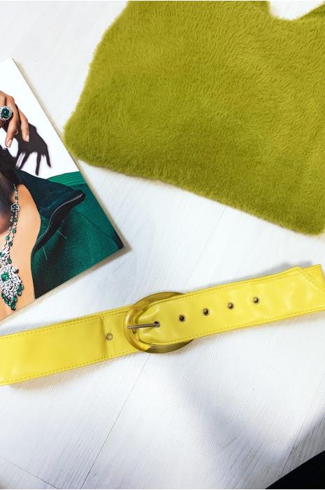Gele riem met doorzichtige ovale gesp per 12 stuks