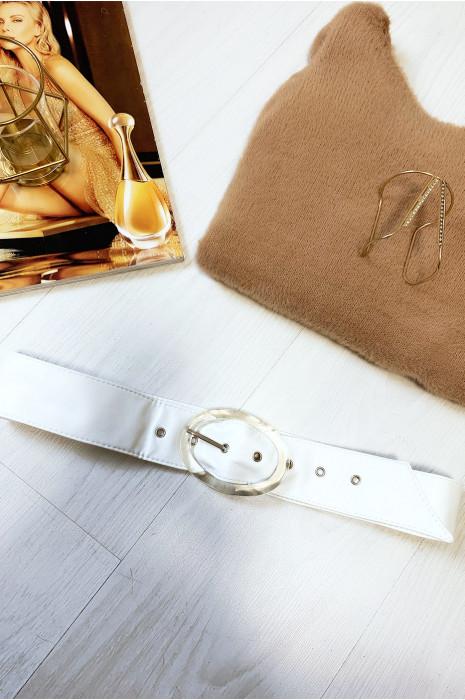 Witte riem met doorzichtige ovale gesp per 12 stuks