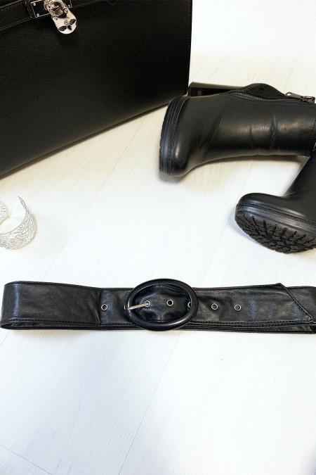 Zwarte riem met doorzichtige ovale gesp verkocht per 12 stuks