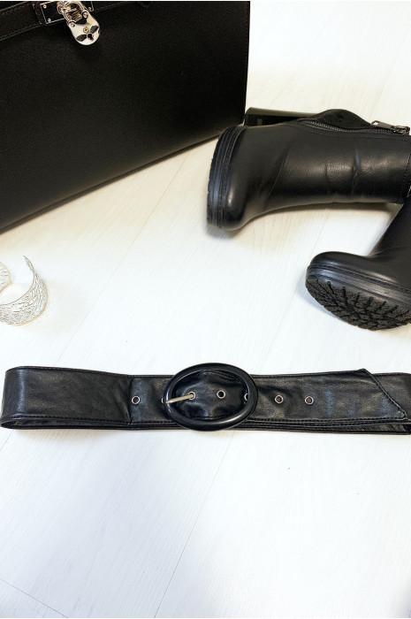 Ceinture noir avec boucle forme ovale transparent vendu par paquet de 12
