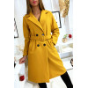 Longue veste croisé moutarde doublé à l'intérieur avec poches et ceinture