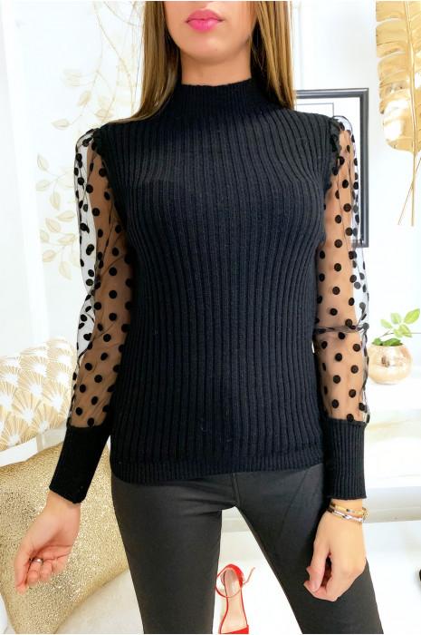 Mooie zwarte sweater met sluiermouwen met gewichtspatroon