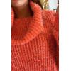 Magnifique pull orange col tombant tressé avec des fils argenté