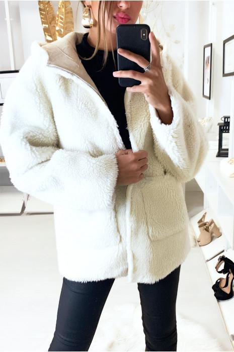 Joli manteau blanc à capuche avec poches