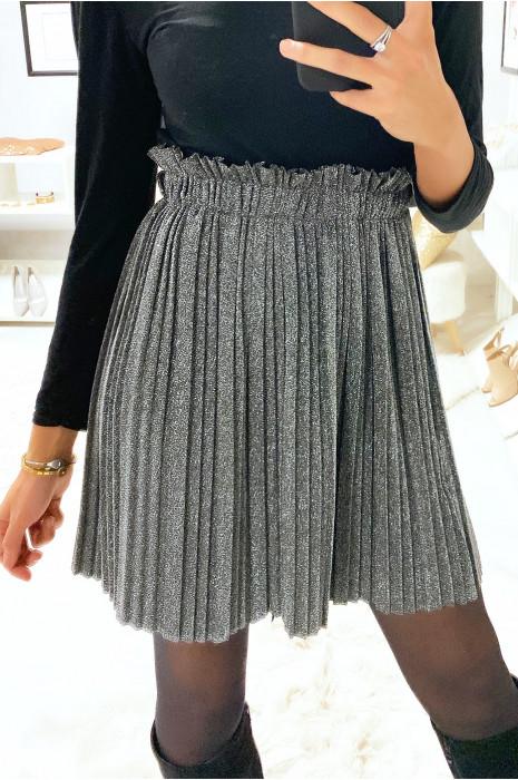 Sublime jupe plissé argenté et pailleté