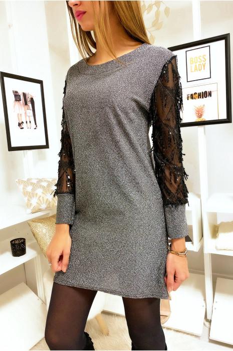 Jolie robe tunique argenté avec manche manche en voile ornée de paillette