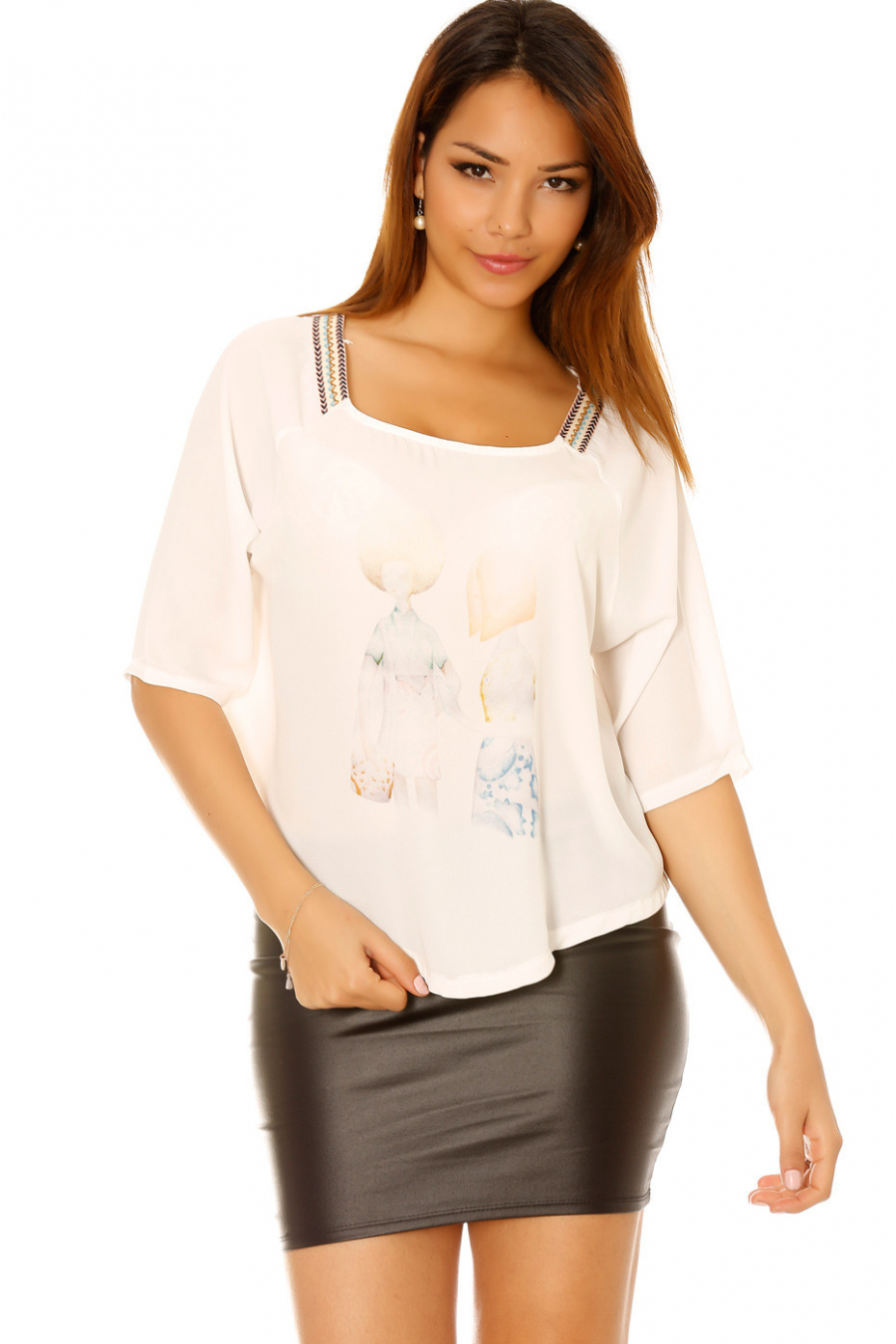 White top with design on the front and Aztec pattern on the shoulders. High Low Price 5560