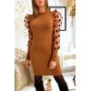 Magnifique robe pull camel épaules bouffante avec avec pois