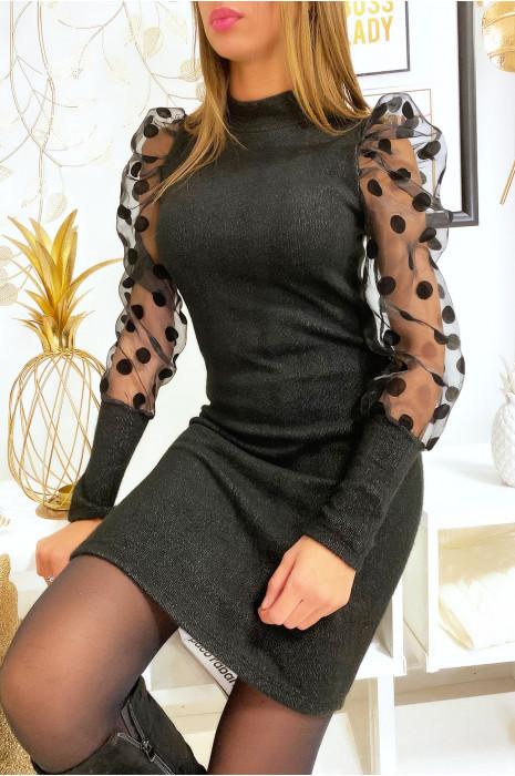 Magnifique robe pull noir épaules bouffante avec avec pois
