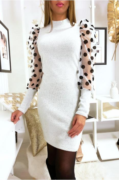 Magnifique robe pull beige épaules bouffante avec avec pois