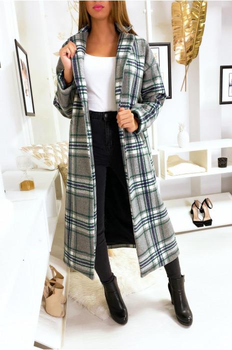 Long manteau gris à carreaux avec poche et ceinture