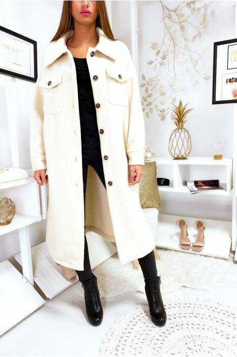 Longue veste écru super chaude et épaisse en forme de chemise