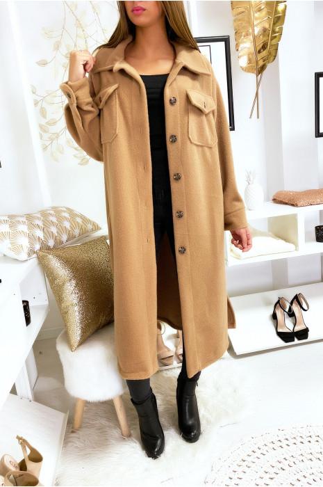 Longue veste camel super chaude et épaisse en forme de chemise