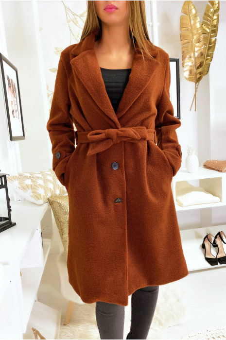 Veste cognac doublé dans une belle matière douce et chaude avec poches boutons et ceinture