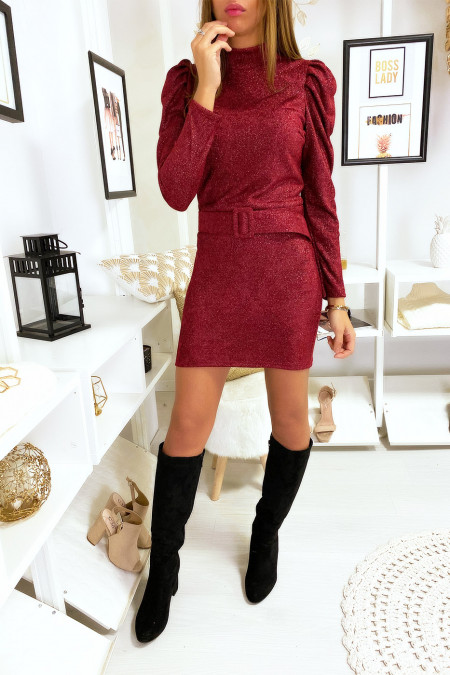 Pretty burgundy dress with moat and shiny material with puffed shoulders and belt