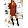 Jolie robe cognac très douce et brillante croisé devant avec épaule bouffante et ceinture