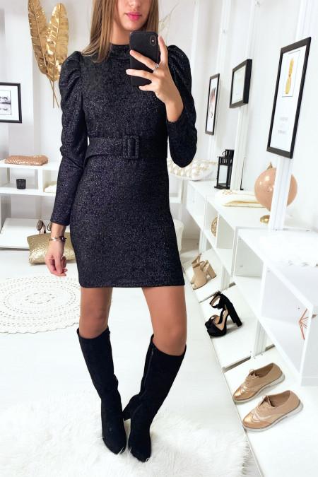 magnifique robe noir pailleté avec épaule bouffante et ceinture