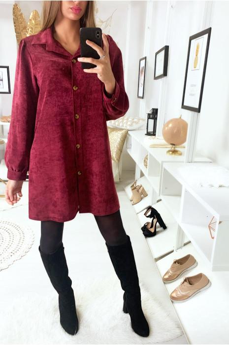 Robe chemise velour bordeaux oversize avec boutons
