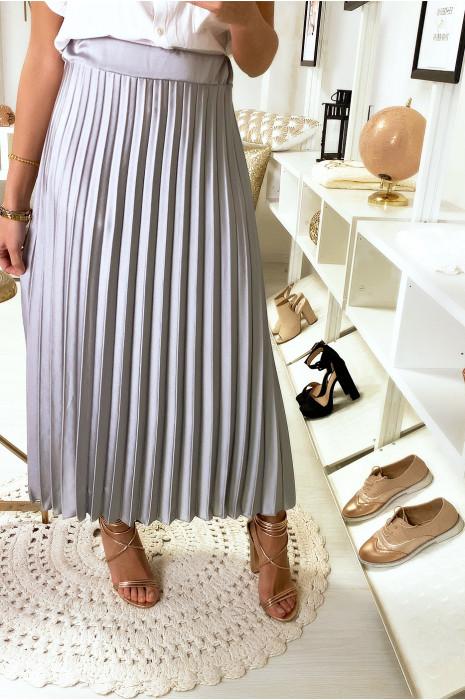 Jupe longue plissé grise satinée