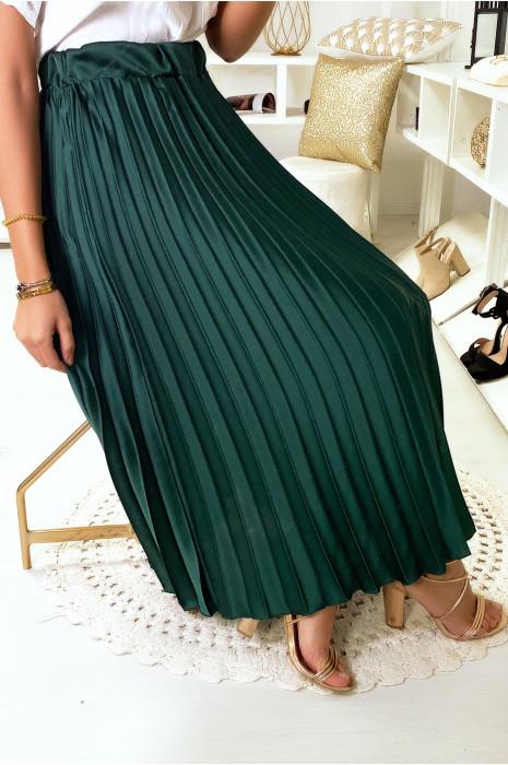 Jupe longue plissé verte satinée