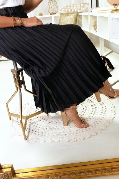 Jupe longue plissé noir satinée