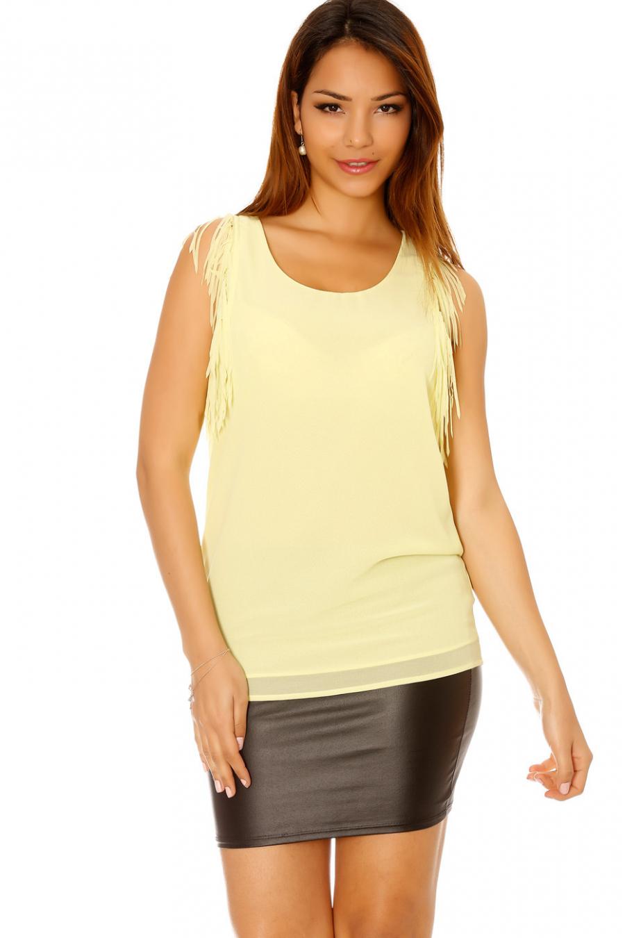 Tunique jaune très chic pour l'été avec franges aux épaules. Tunique 5567