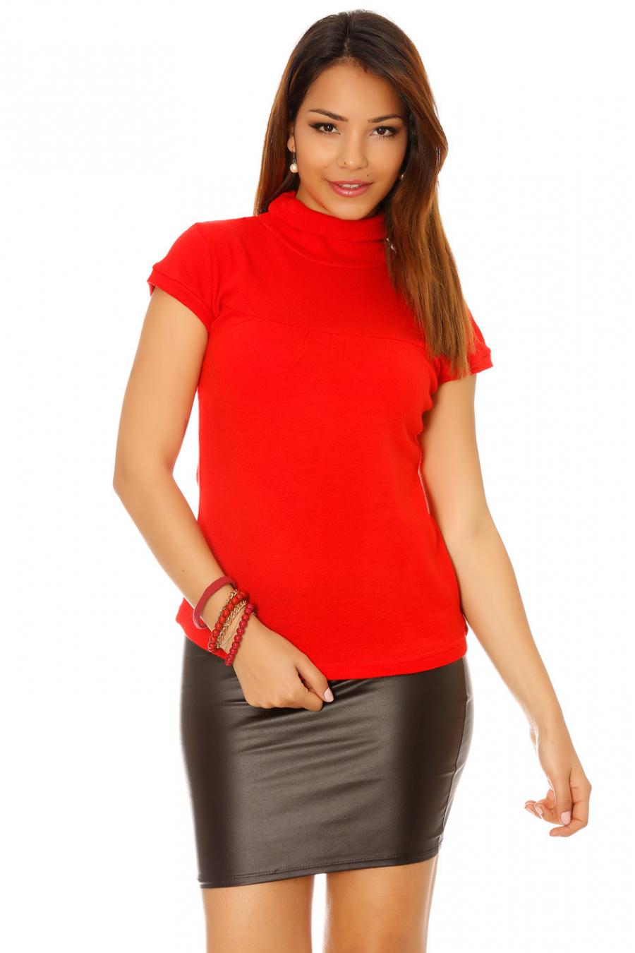 Haut rouge manche courte, col roulé en acrylique. Haut femme pas cher 2058