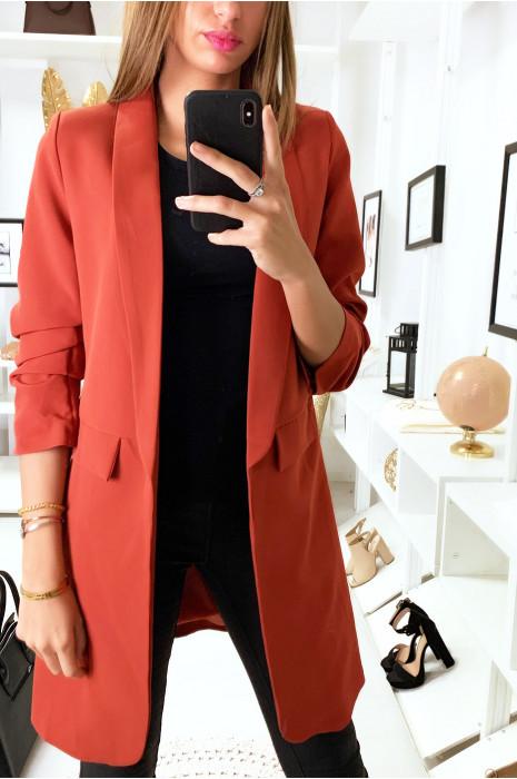Longue veste doublé en cognac avec manches retroussé