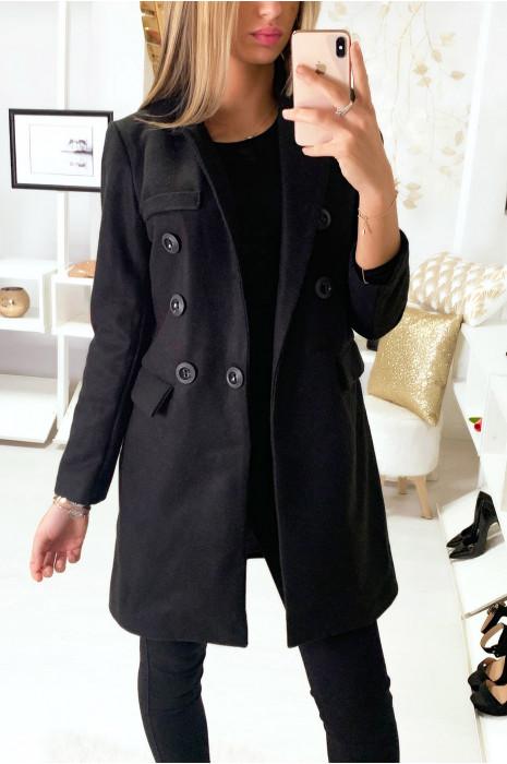 Joli Manteau Noir à gros boutons et col revers.