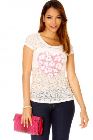 White lace t-shirt with rhinestone heart motif. Women's top 201