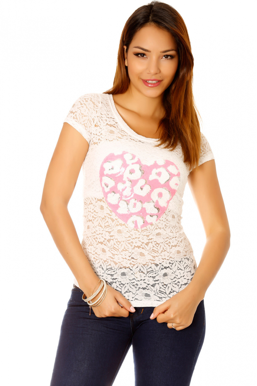 White lace t-shirt with rhinestone heart motif. Women's top 201