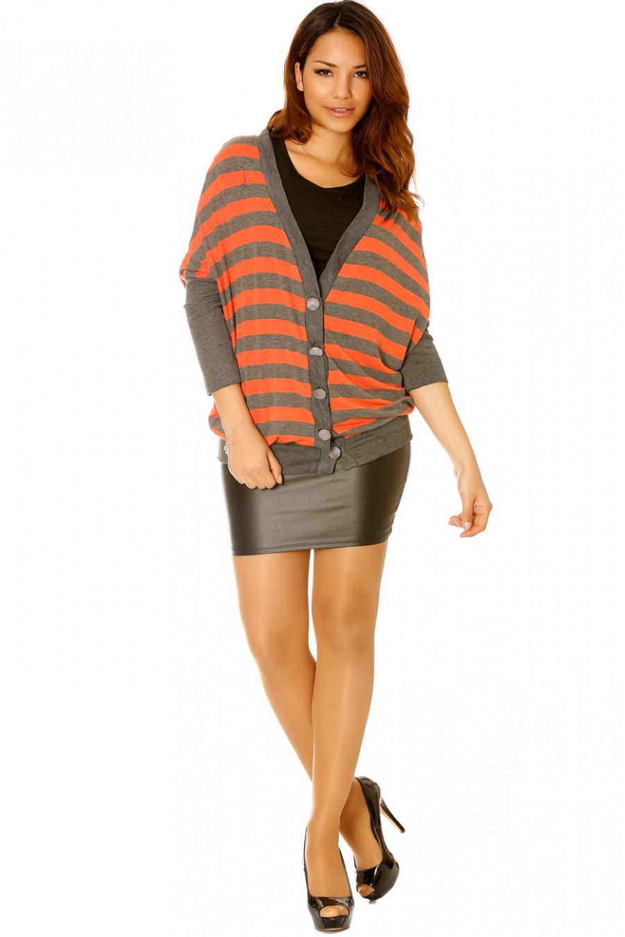 Magnifique gilet orange et gris très tendance. Mode femme pas cher l-881