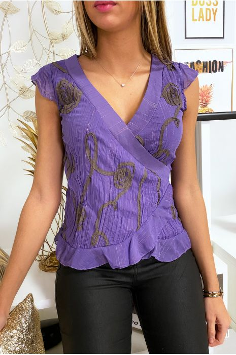 Magnifique Top cache coeur Violet avec longue attache.