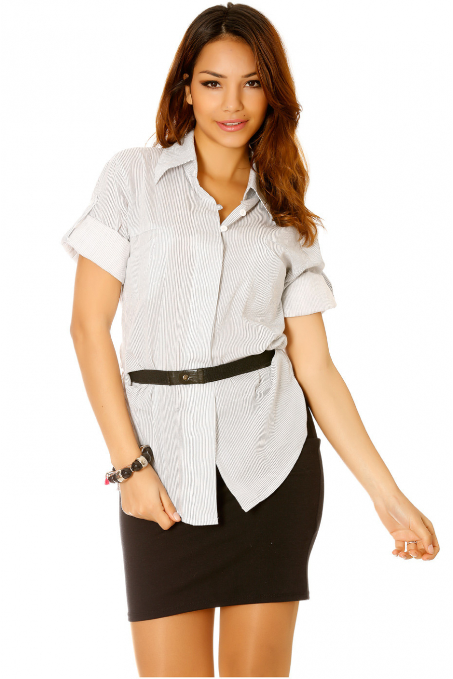 White and gray pinstripe blouse 3/4 sleeve with belt - 13145