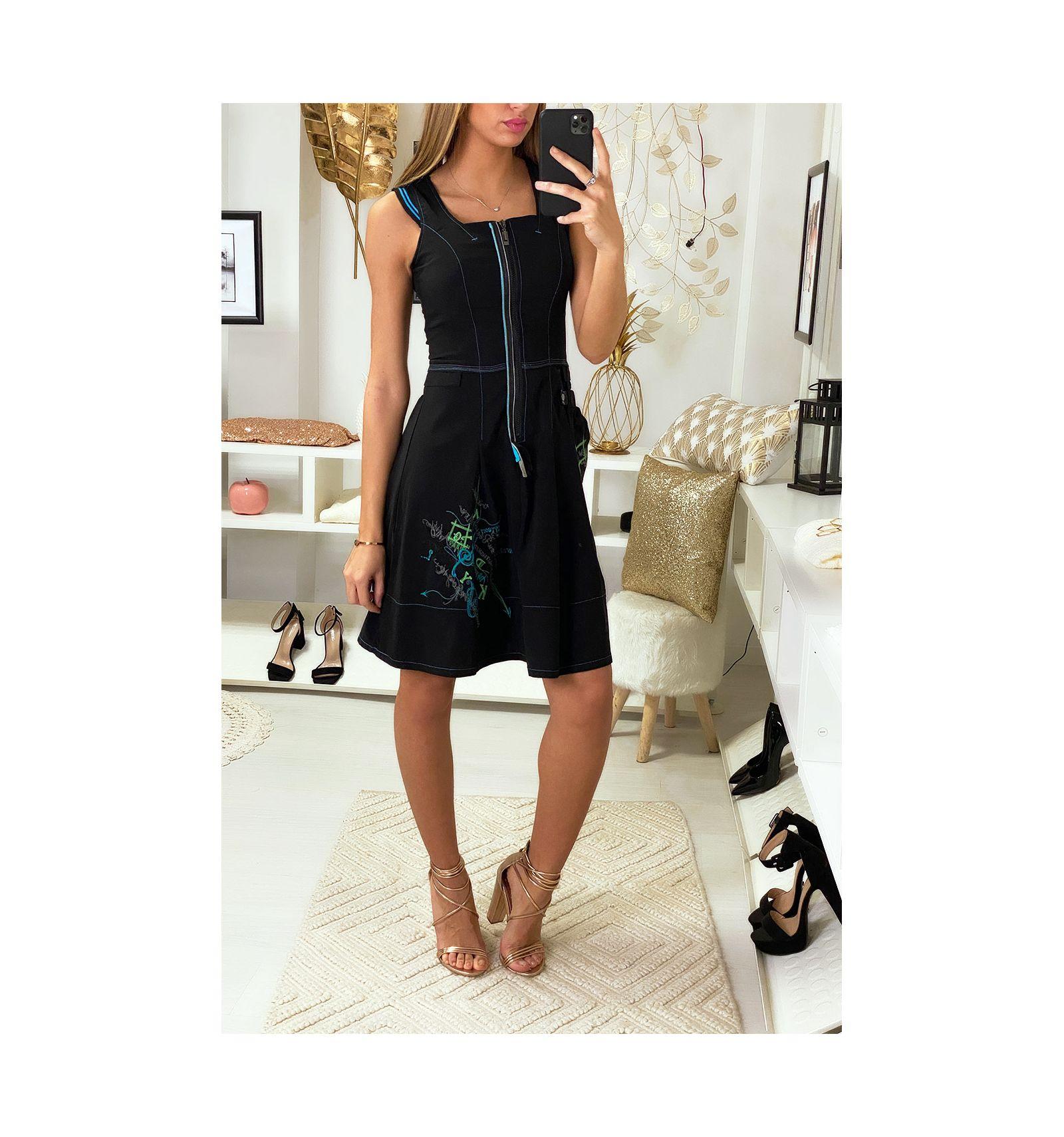 Robe Debardeur Noire A Zip Devant Style Destructure Avec Poche Sur Le Cote Robe Femme