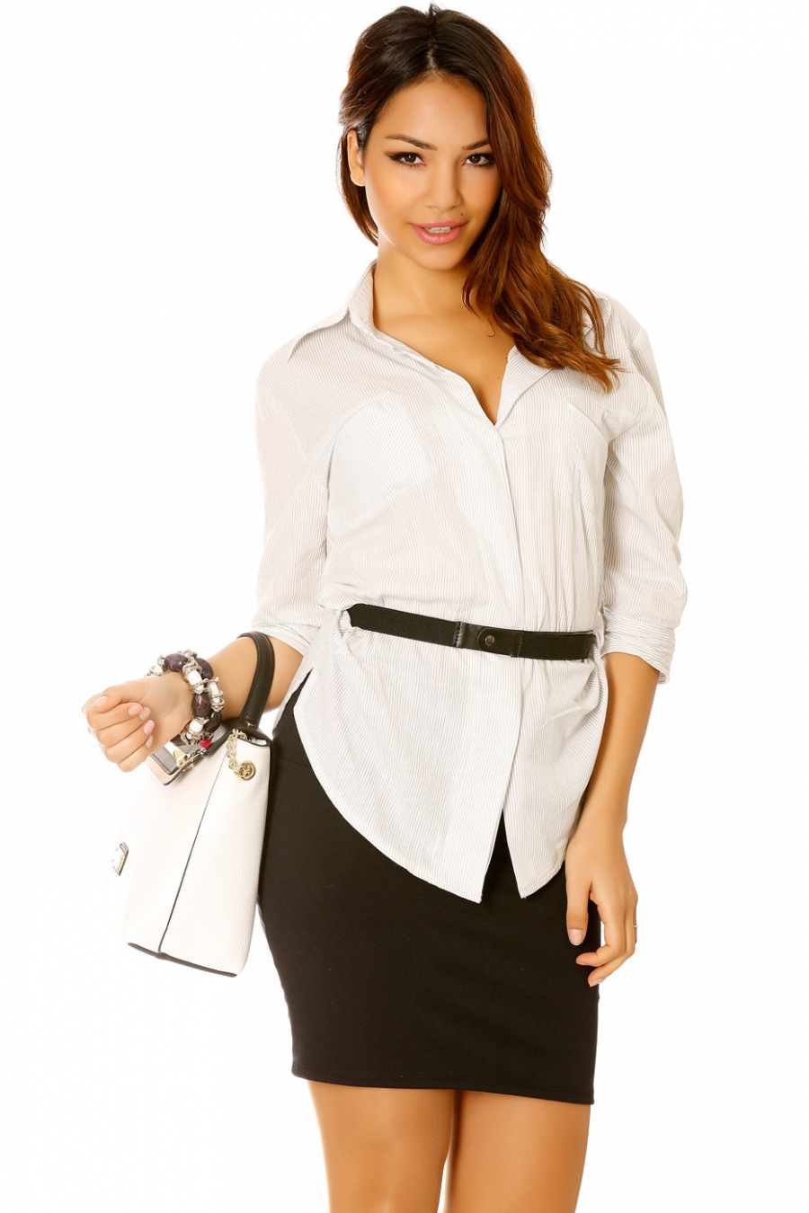 White and black pinstripe blouse 3/4 sleeve with belt - 13145