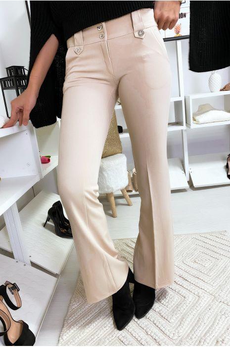Pantalon à pince Beige avec boutons fantaisie.