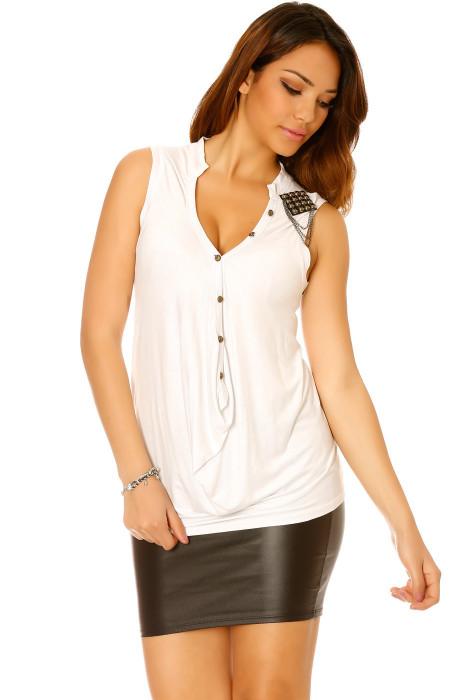 Top Blanc col V style drapé sur le devant et perle sur l'épaule - A2006