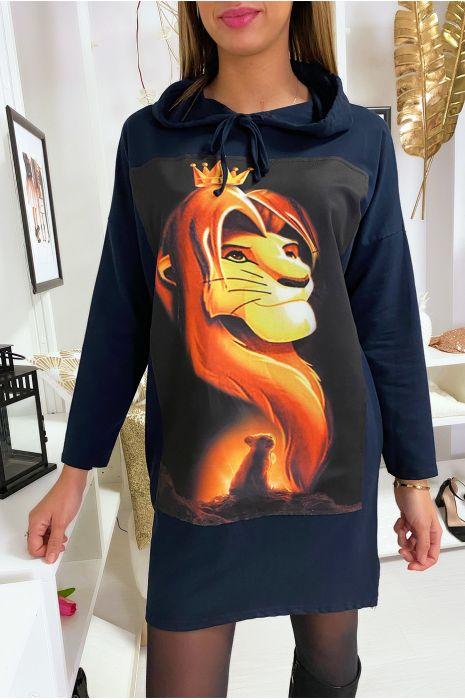 Long sweat à capuche marine avec dessin roi lion devant