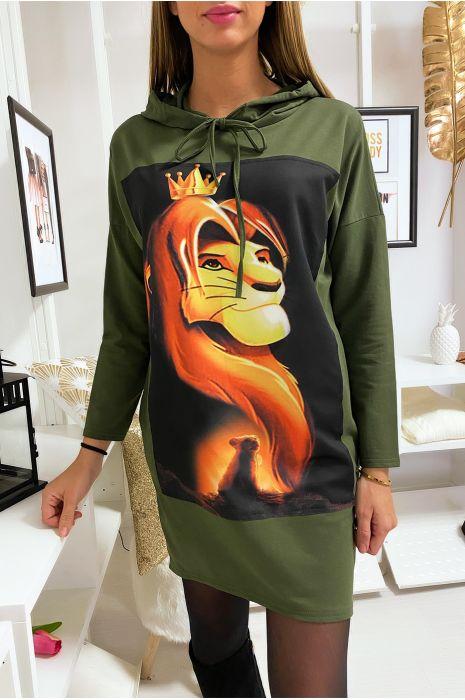 Long sweat à capuche kaki avec dessin roi lion devant