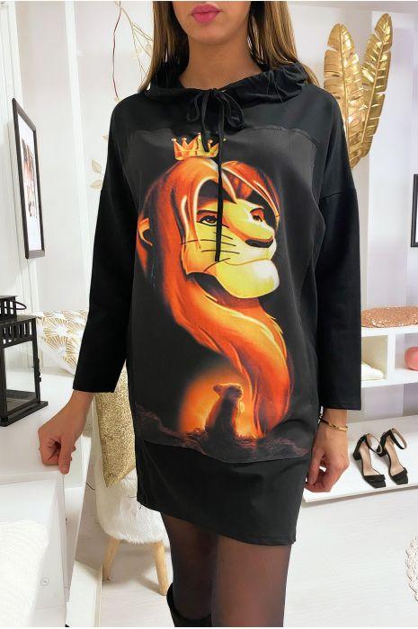 Long sweat à capuche noir avec dessin roi lion devant