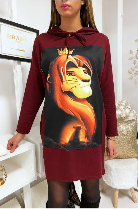 Long sweat à capuche bordeaux avec dessin roi lion devant