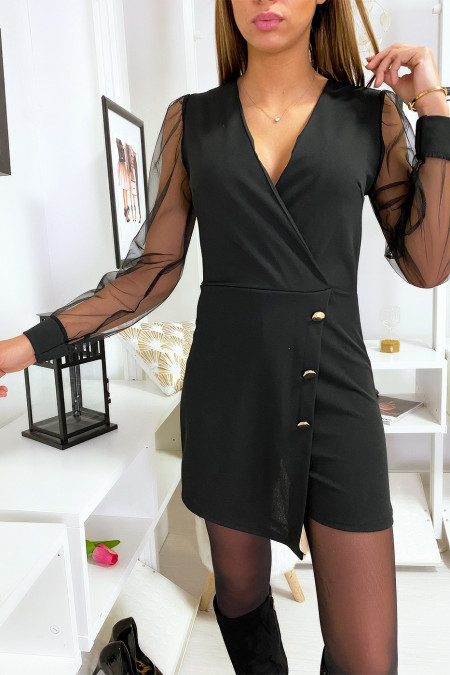 Black 2 in 1 combi short dress crossed front with gold button and veil sleeves