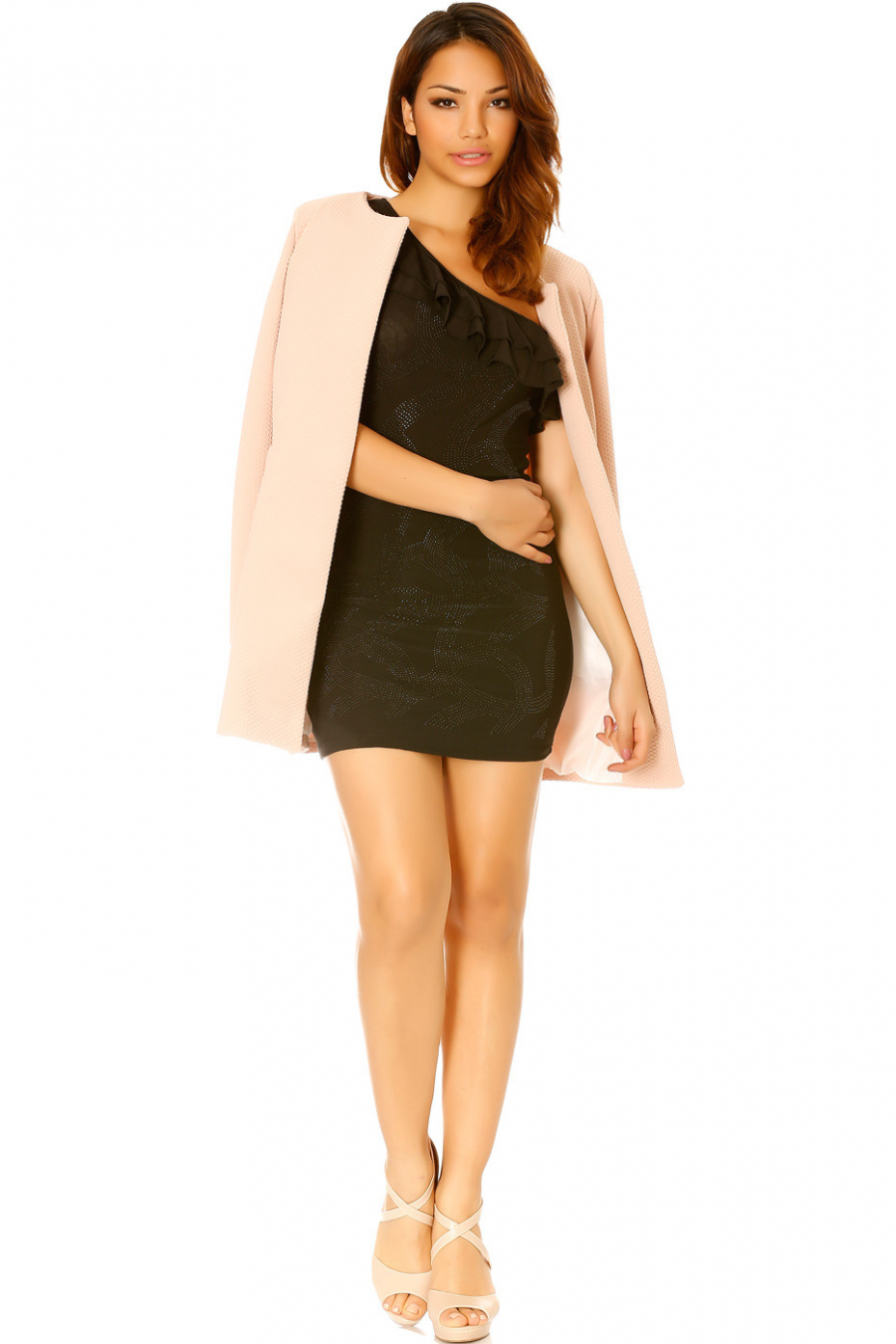 Zwarte jurk met off-shoulder en strass steentjes aan de voorkant - A0111
