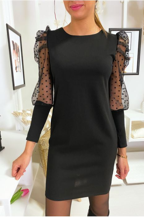 Robe noir manche plumetis et bouffante